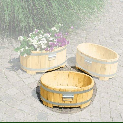 Symple Stuff Wooden Barrel Planter Wood Barrel Planters Plastic Barrel Planter Wooden Garden Planters