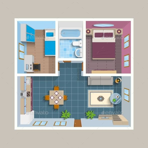 Small Homelayout: Flat Architectural Plan Top View Position