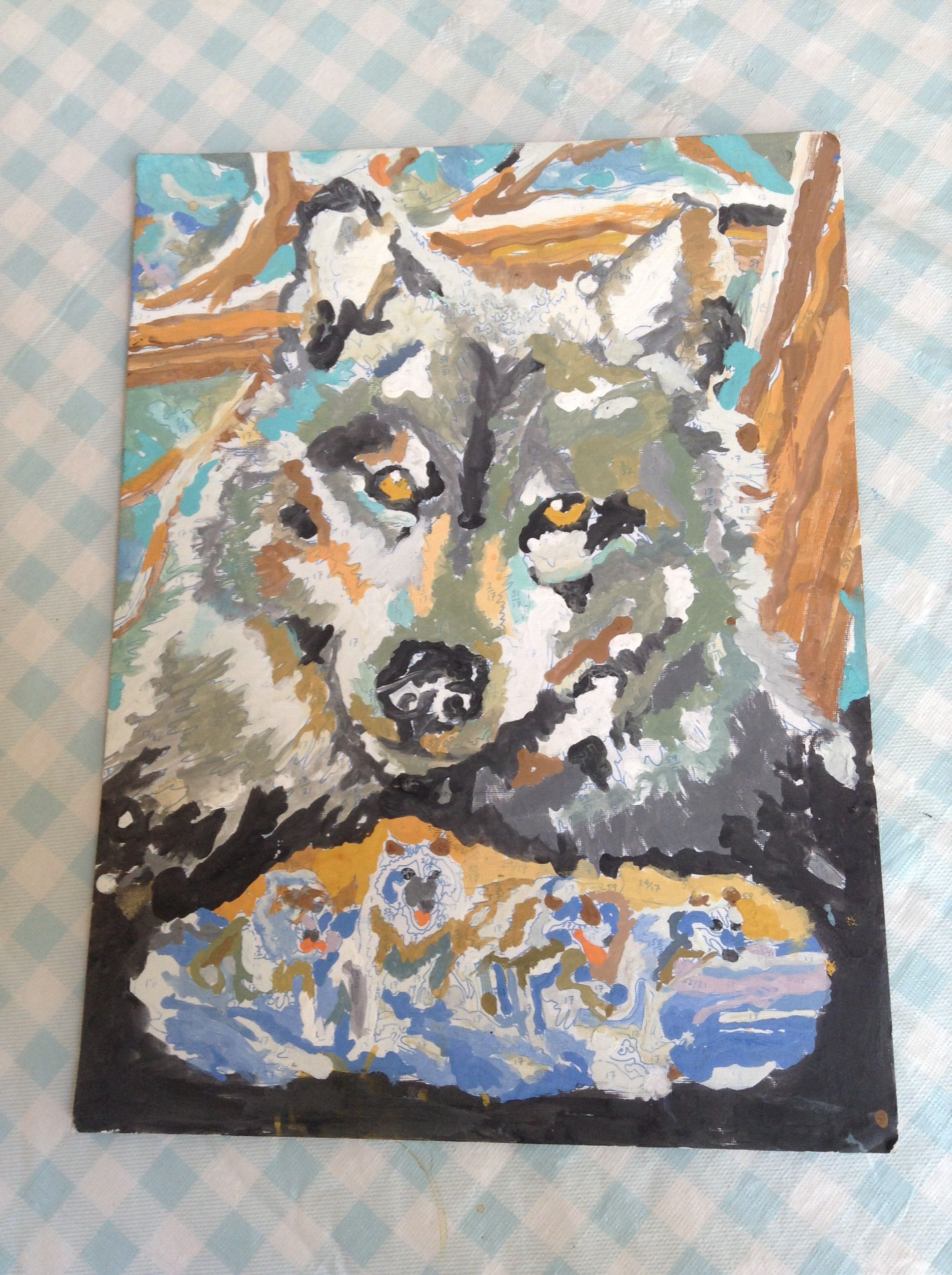 Painting by numbers wolf. | Painting, Art, Paint by number
