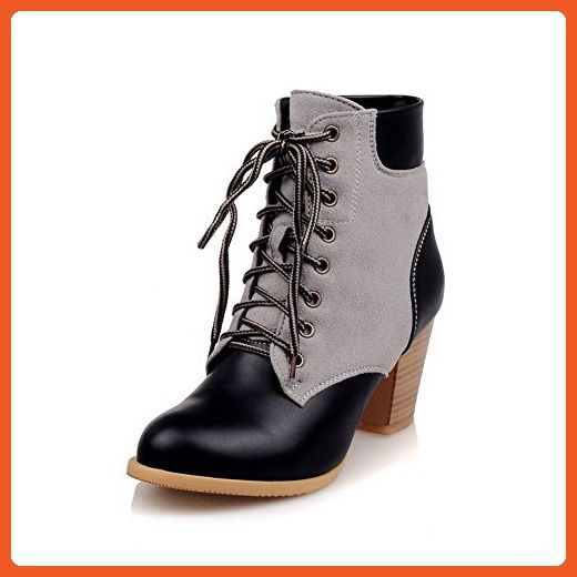 Women's Blend Materials Low-Top Solid Lace-Up Low-Heels Boots