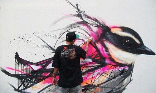 Graffiti birds street art by L7m #graffiti #street #urban #art