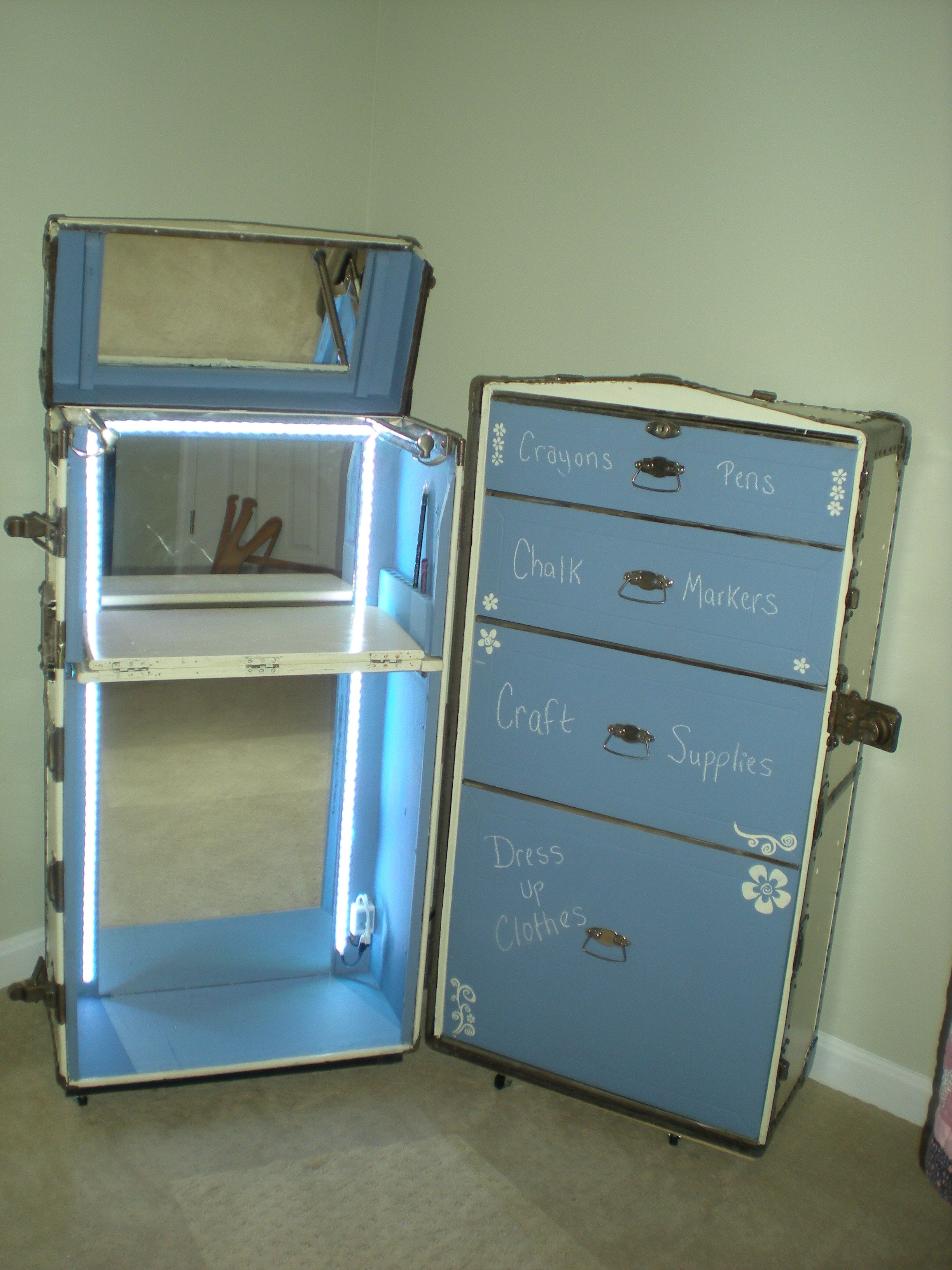 Upcycled Repurposed This Old Steamer Wardrobe Trunk Into A
