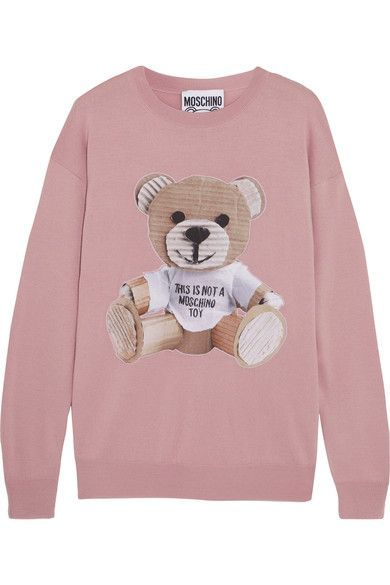 c8dc3d849be Moschino - Appliquéd wool sweater | Products | Woolen tops, Sweaters ...