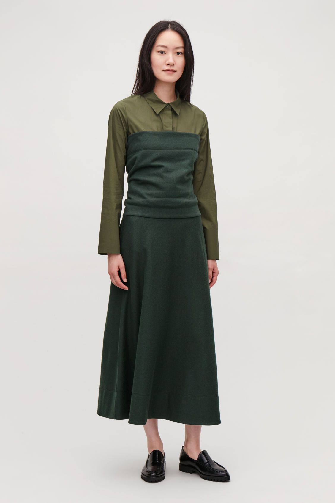 Cos green dress 2018  Model front image of Cos layered strapless wool dress in green
