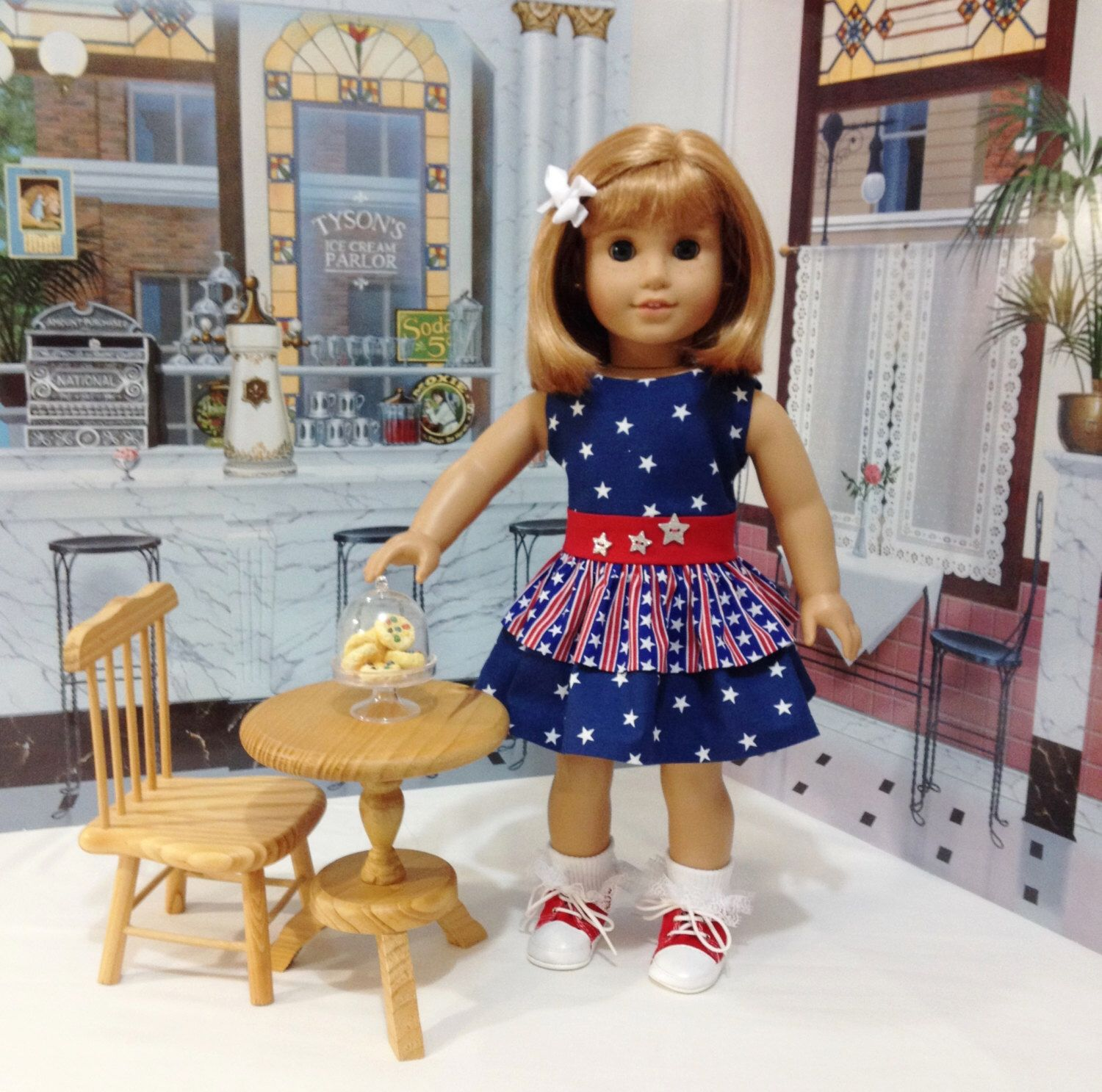 """ON Sale AG patriotic dress """"Stars and Stripes""""  fits American girl and other similar 18 inch dolls by craftymagaw on Etsy https://www.etsy.com/uk/listing/398174771/on-sale-ag-patriotic-dress-stars-and"""