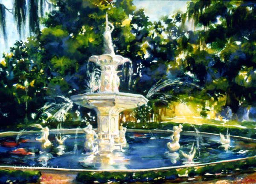 Savannah Fountain Forsyth Park Savannah Chat Southern Artist Painting Gallery