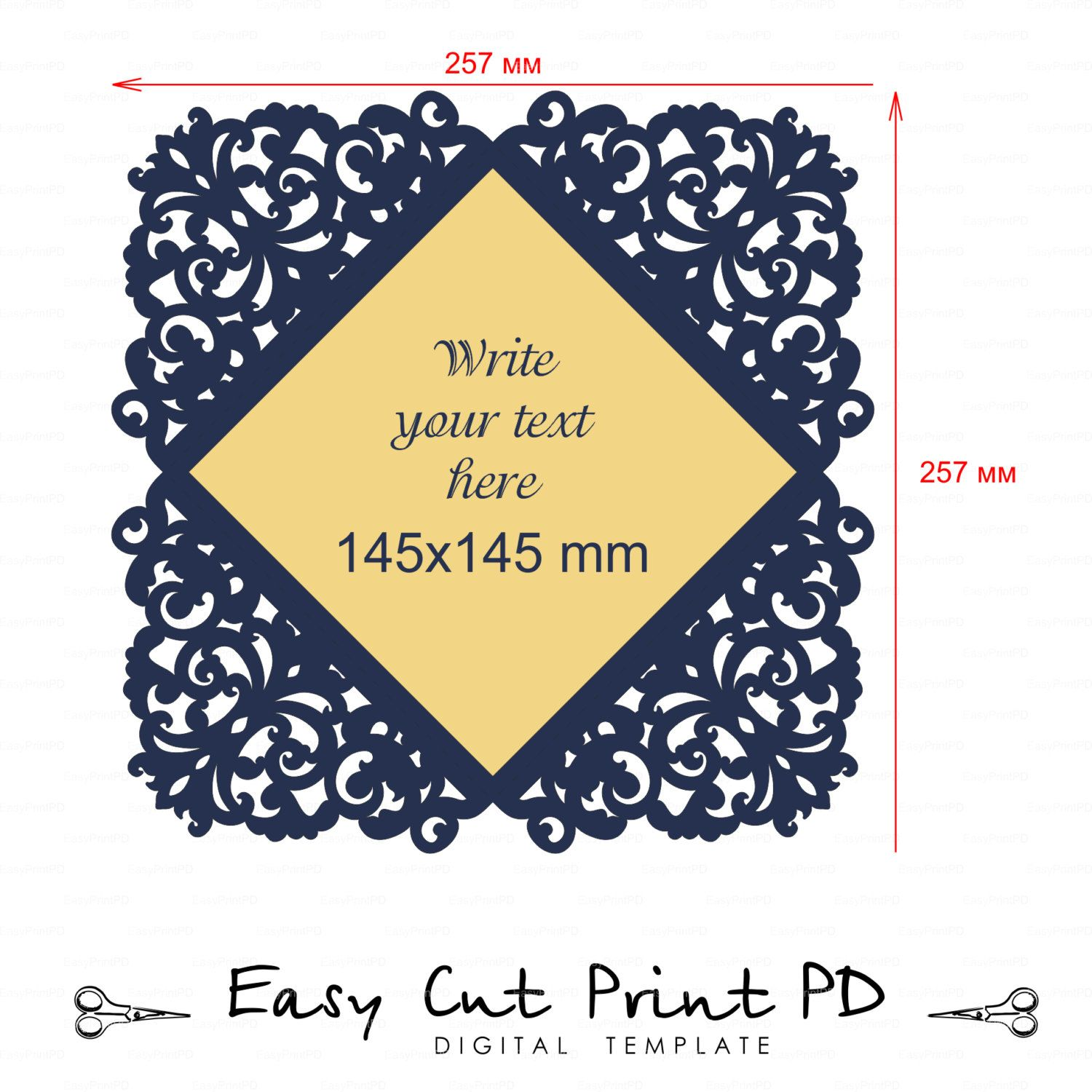Lace Wedding invitation Card Template folds svg dxf dwg