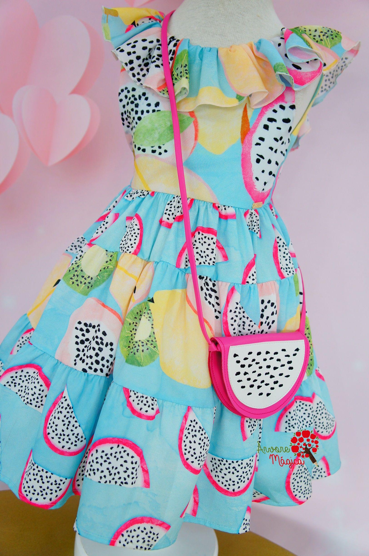 b4718076a8 Vestido Infantil Pitaya com Bolsinha Mon Sucré