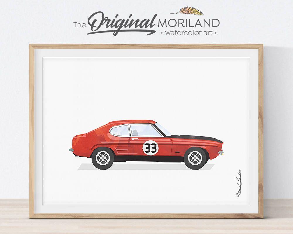 Ford Capri Print Classic Sport Car Race Car Wall Decor Boys Room