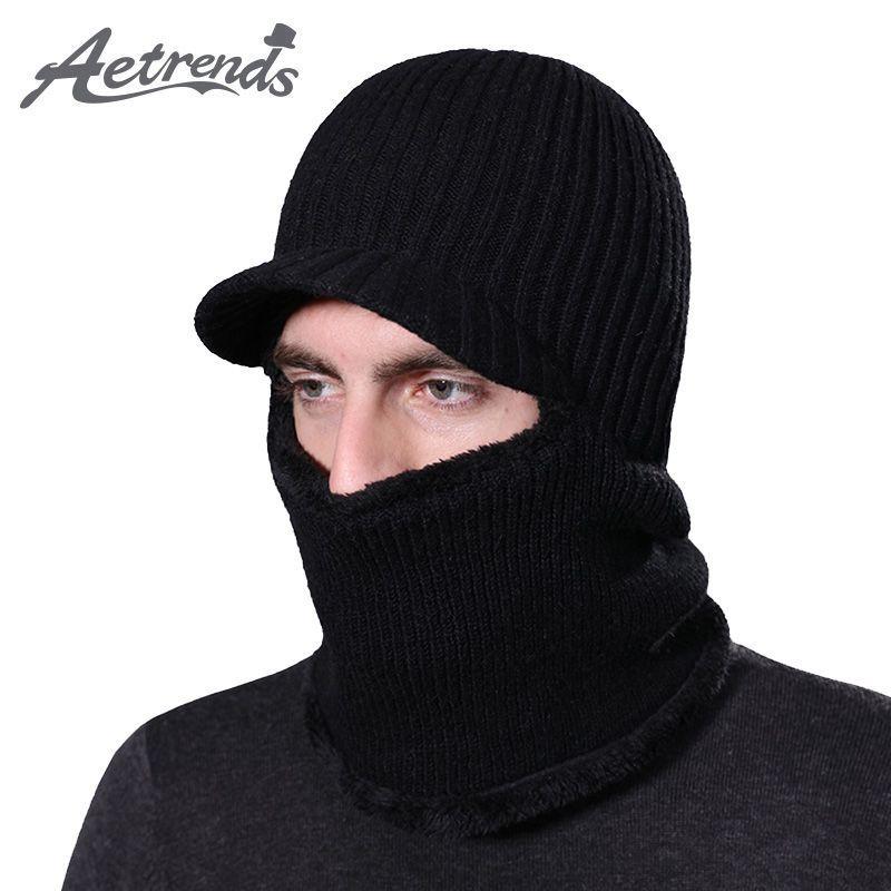 AETRENDS  2017 New Winter Beanies Knitted Balaclava Mask Cap Thicken Warm  with Fur Velvet d08feb5d5d