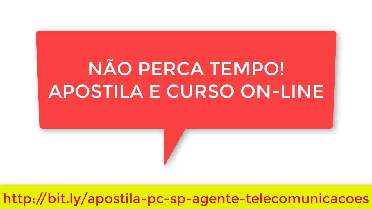 Apostila Concurso Agente De Telecomunicacoes Policia Civil Sp