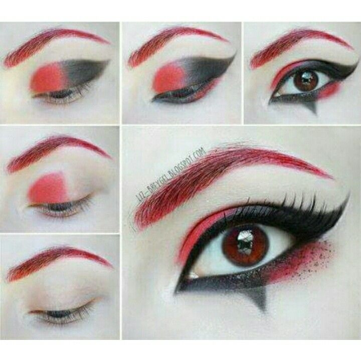 maquillage harley quinn rouge et noir. Black Bedroom Furniture Sets. Home Design Ideas