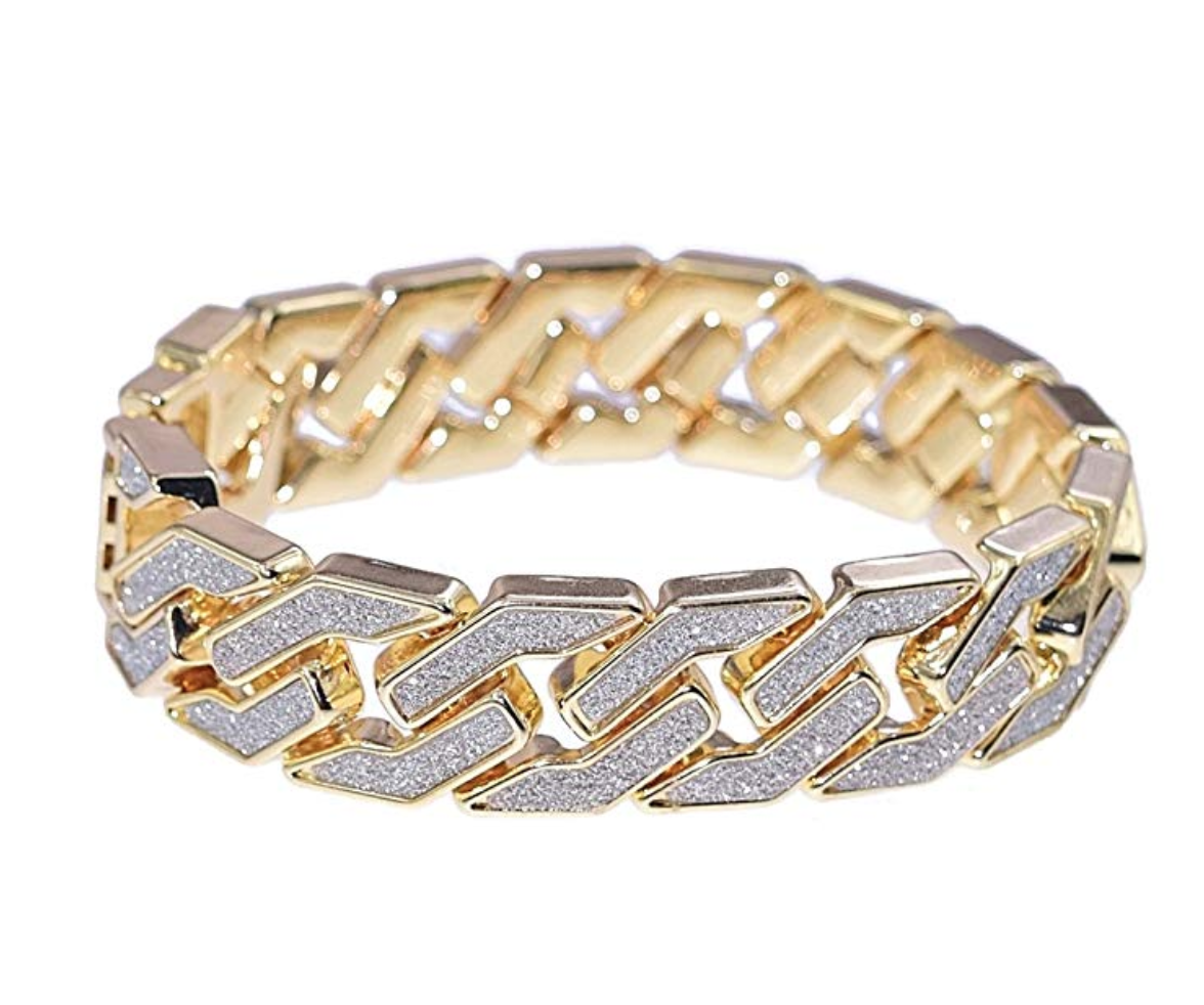 Hip Hop Mens Iced Chain Bracelet Out 8 Inch Cuban Link Diamond Gold Silver New