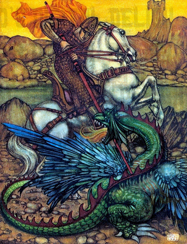 Vivid Medieval Dragon. Vintage Fairy Tale Digital