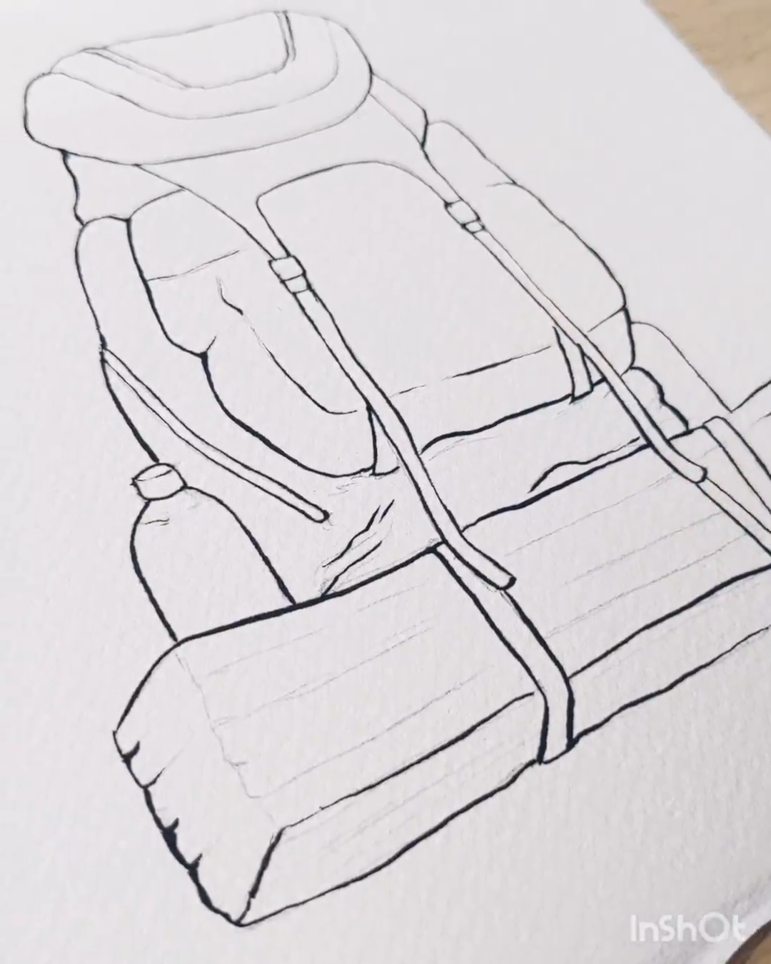 Drawing a backpack with Brush pen   Black ink draw