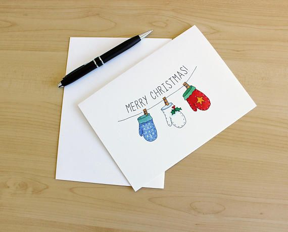 Mittens Christmas Card Festive Cards Watercolor Christmas With