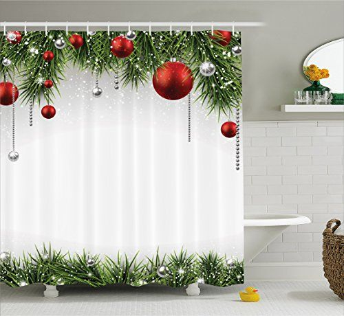 Christmas Decorations Shower Curtain Green by Ambesonne, ... https ...