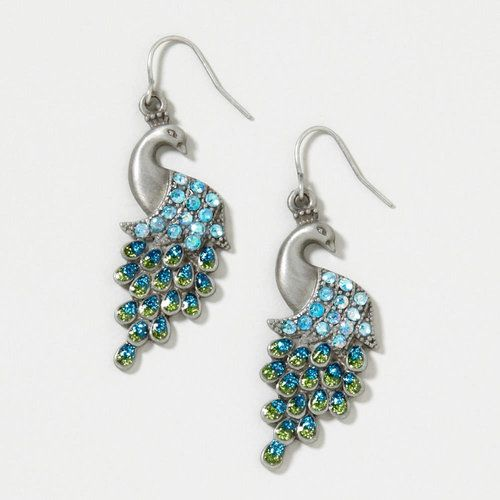 Silver Peacock with Crystal Tail Drop Earrings | Claire's