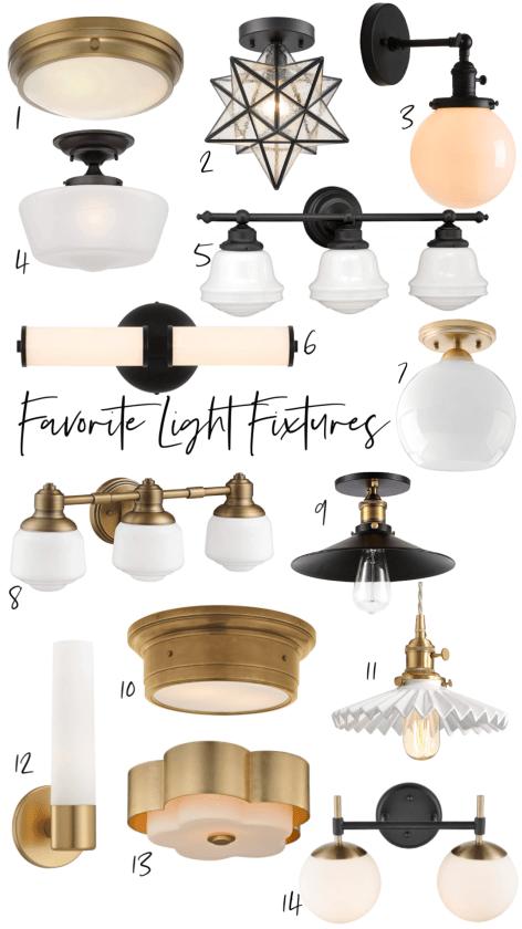 Favorite Light Fixtures Vanity Lights Flush Mounts And Bathroom Plans Nesting With Grace Favorite Lighting Vanity Lighting Bathroom Vanity Lighting