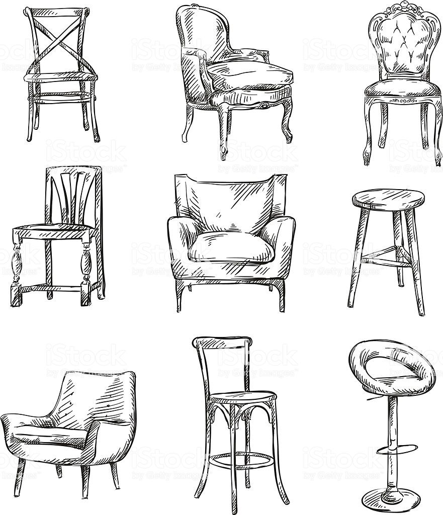 Set Of Hand Drawn Chairs Interior Detail Interior Architecture Drawing Furniture Design Sketches Interior Design Sketches