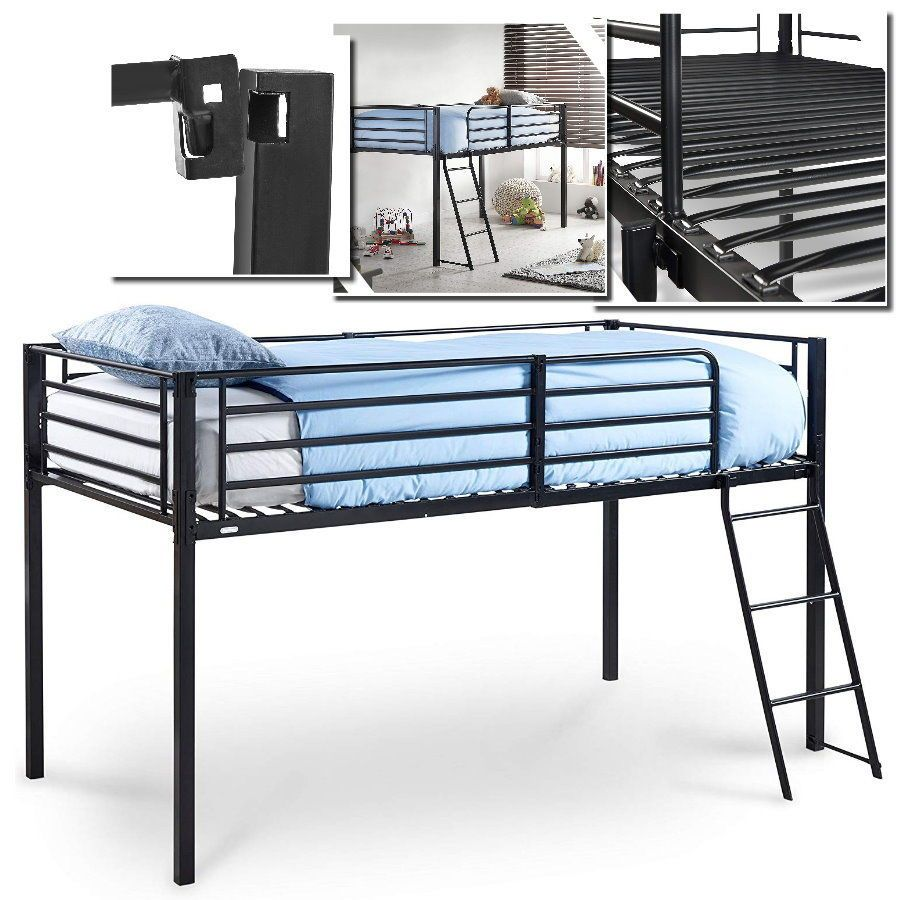 Single Mid Sleeper Bunk Kids Bed Cabin Black Metal Frame