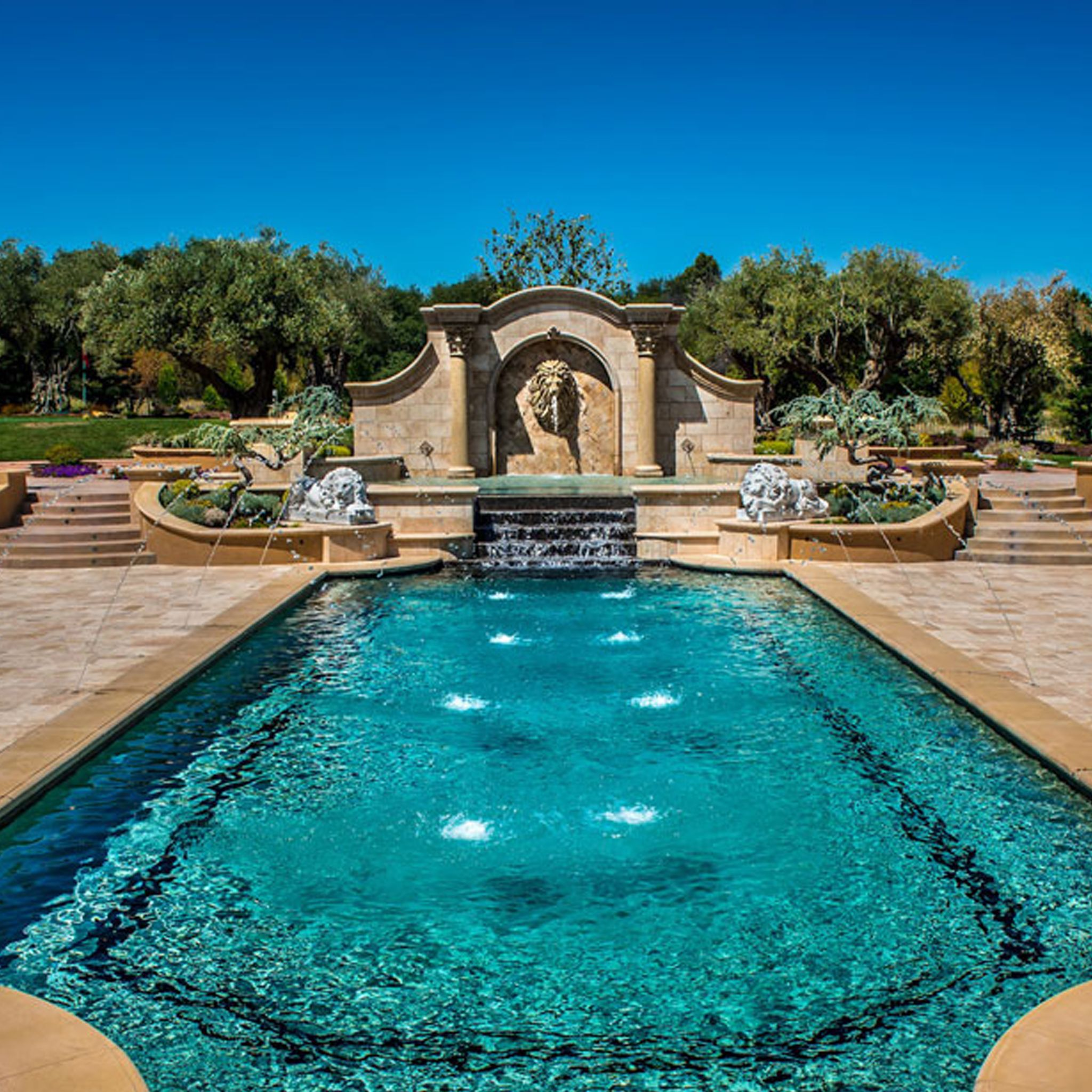 Classic Pool With A Lion Wall Fountain | Outdoor Fountains In 2019