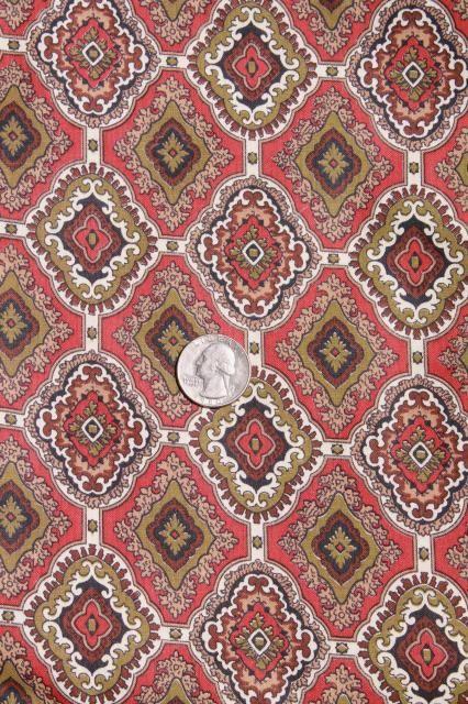 1940s vintage menswear paisley print cotton fabric, 36 wide x 3 yards
