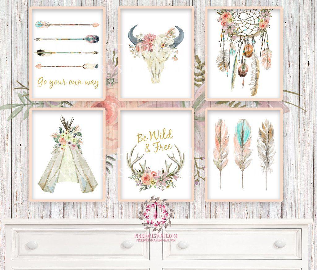 Boho Nursery Print Wall Art Set Of 6 Teepee Antlers