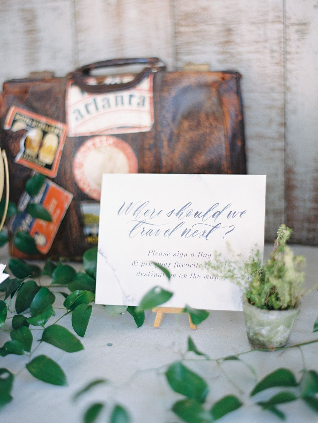 Guest book- Southern Vintage rentals leather suitcase with travel ...