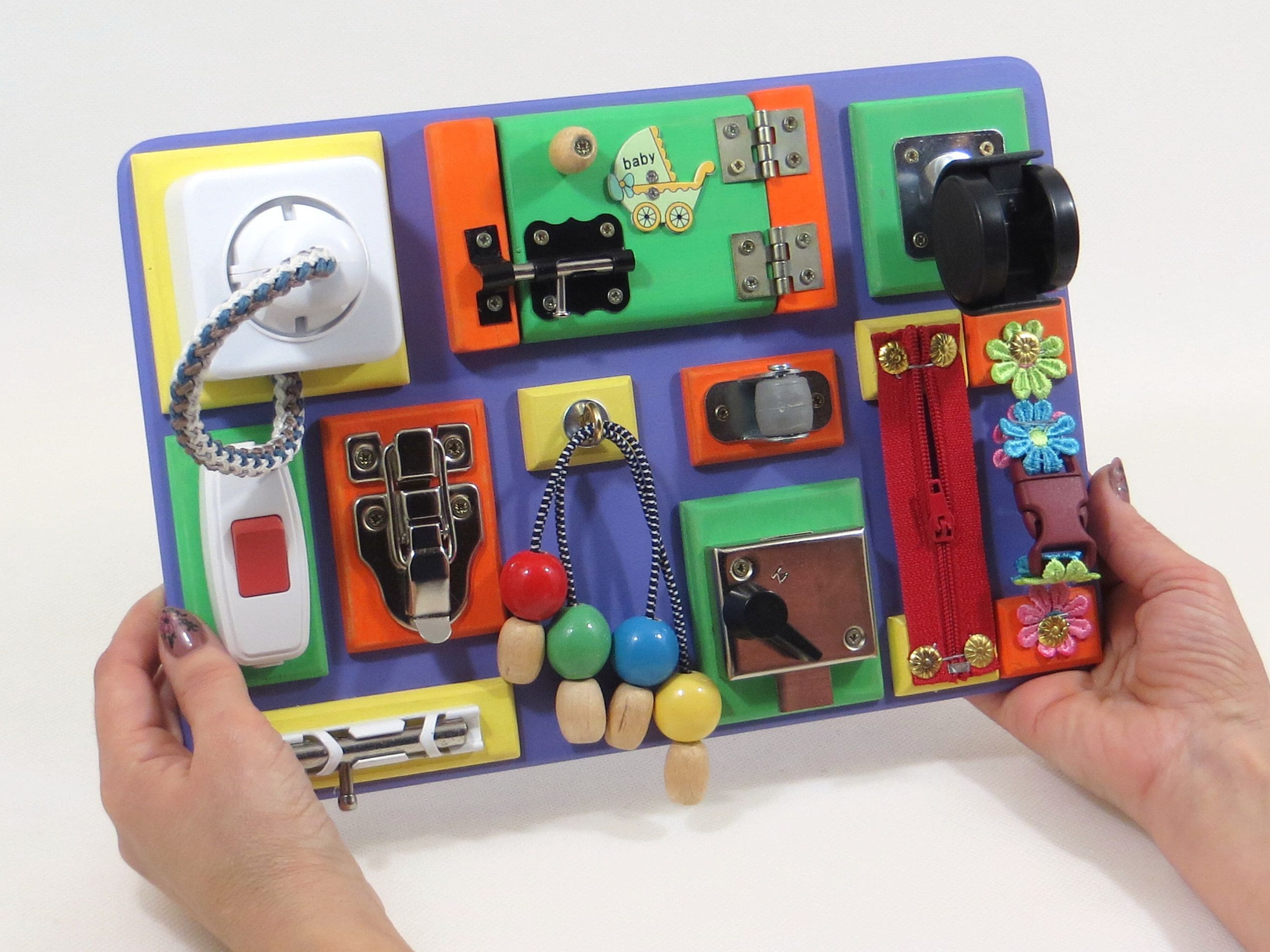 Travel Busy Board Sensory Activity Wood Toy Baby Busy Board