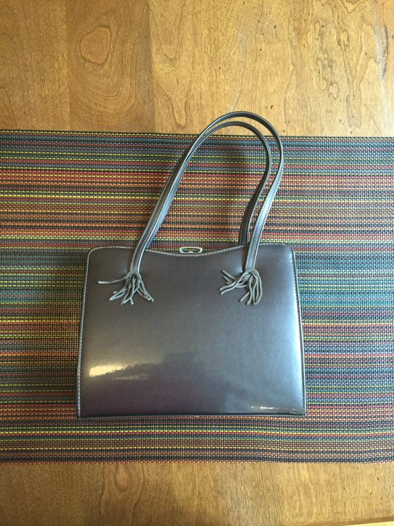 Vintage Ackery London England Gray Patent By Oceanfrontvintage Change Purse Mirror