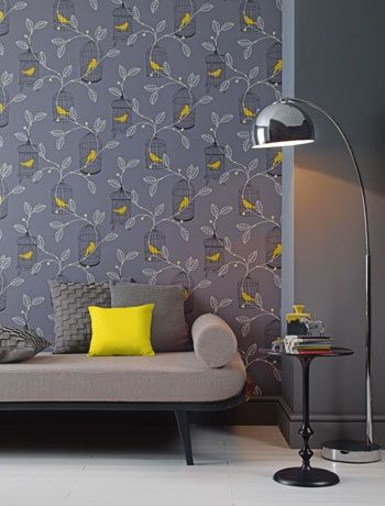 Gorgeous Grey Bird Wallpaper In The Living Room By Bandq I Ve Become Obsessed With This New Wave Of Stunning Wallpaper In N Yellow Wallpaper Wallpaper Bedroom