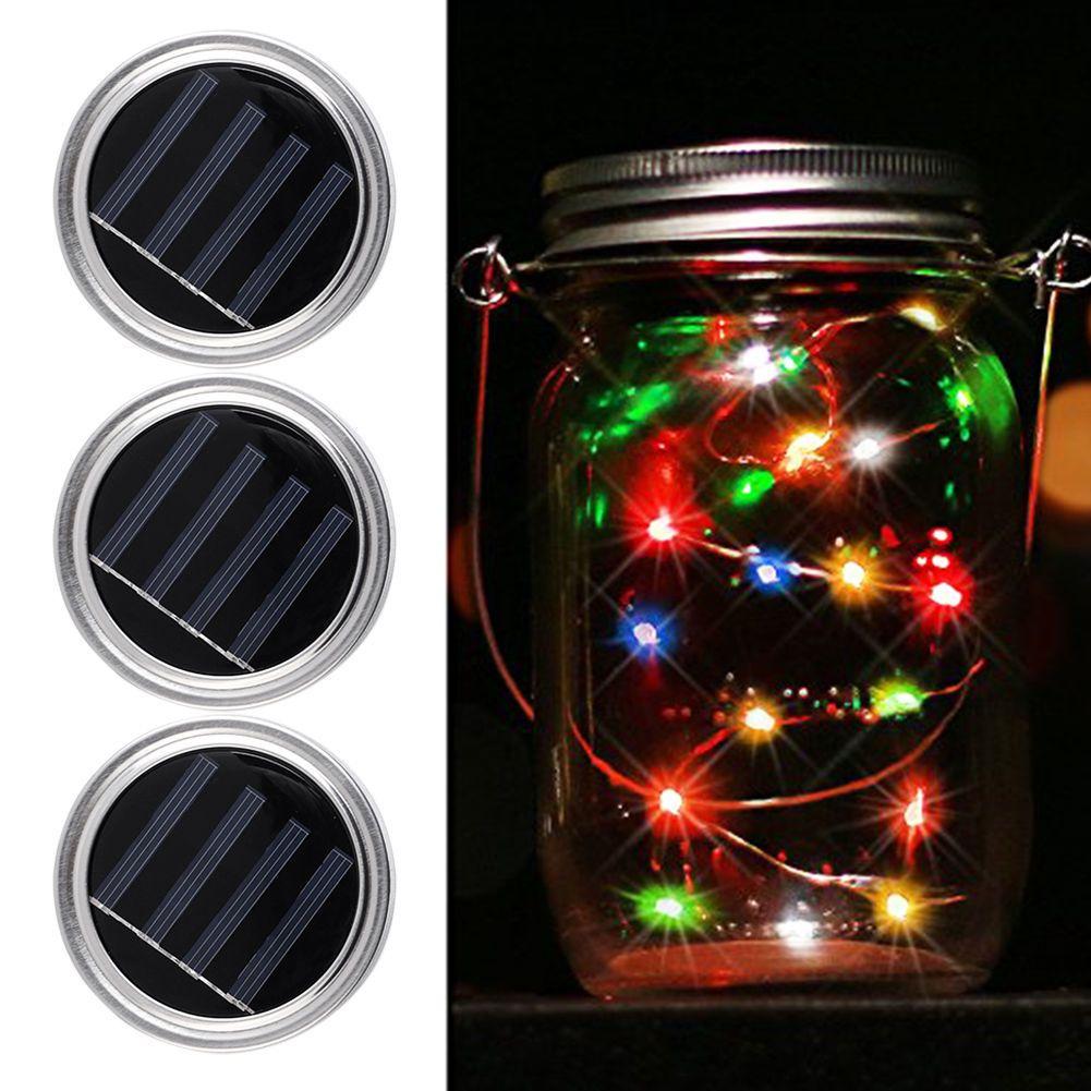 Led Fairy Light 3 Pack Solar Mason Jar Lights Lid Warm White White Multicolor Ebay Solar Mason Jars Mason Jar Lids Jar Lights