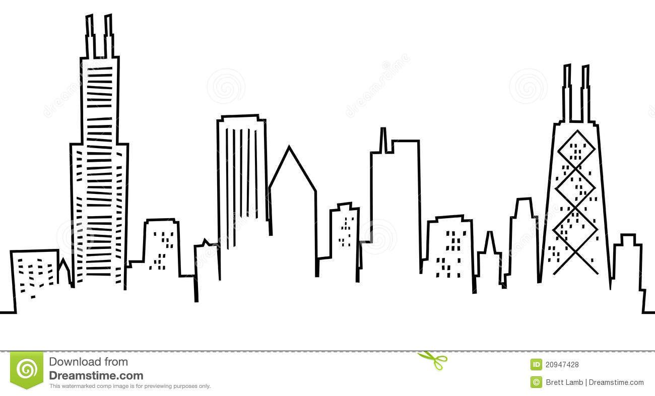 Cartoon Chicago Skyline