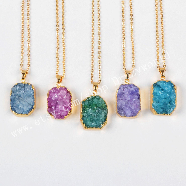 Geode druzy pendant necklace Geode Pendant titanium Druzy bar necklace Druzy bar Pendant necklace geode necklace adate necklace