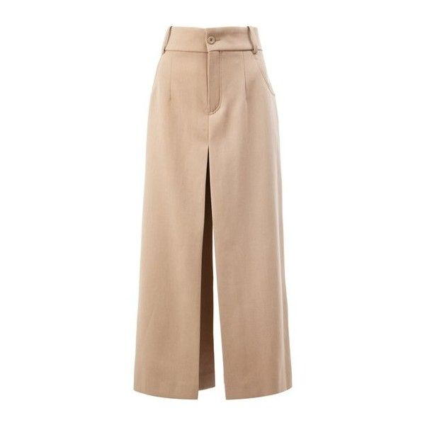 CHLOE' Wide Folded Culottes (£715) ❤ liked on Polyvore featuring pants, capris, beige, high waisted wide leg pants, high waisted trousers, wide-leg pants, pleated wide leg pants and high-waisted trousers