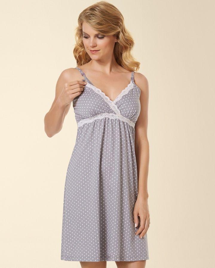 53b9737a722ed Belabumbum Cotton Nursing Sleep Chemise Grey Dot | Preparing for ...