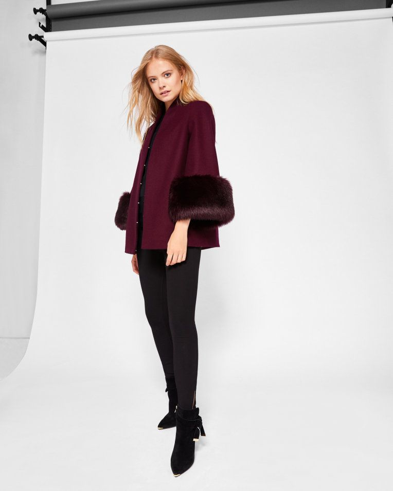 Wool and faux fur coat - Maroon | Jackets and Coats | Ted Baker UK ...