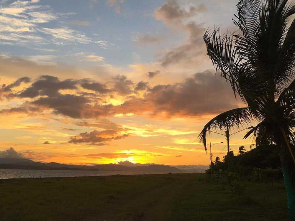 Sunset on the beach in Puntarenas.