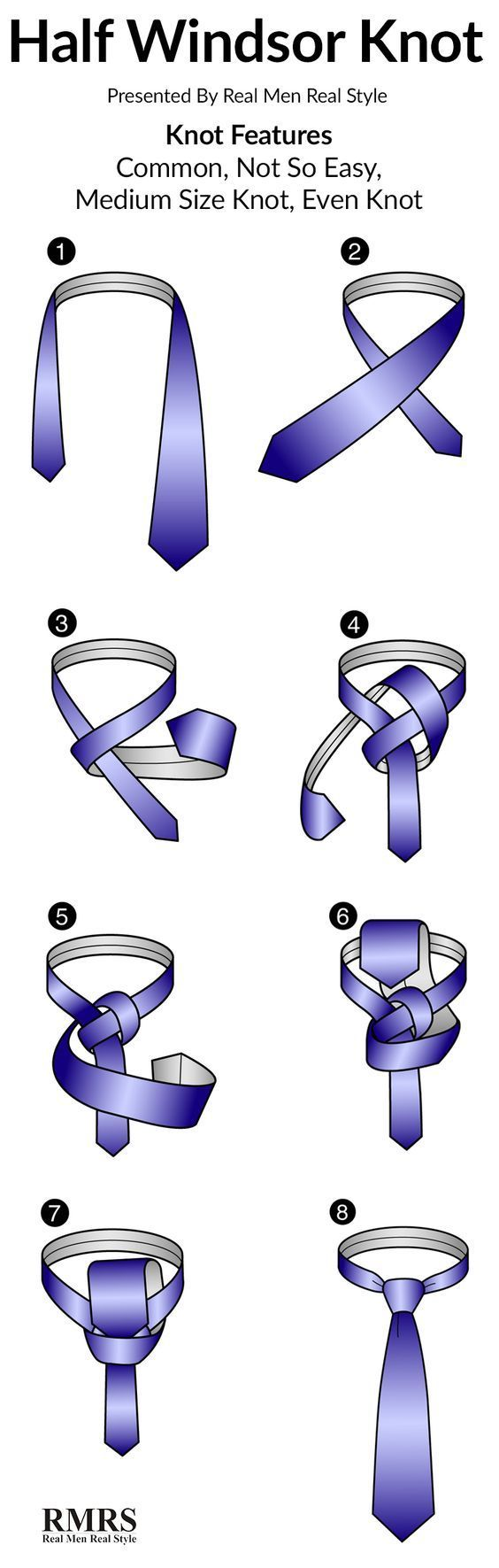 How To Tie A Half Windsor Knot Infographic Windsor Knot Half Windsor Tie A Tie Easy