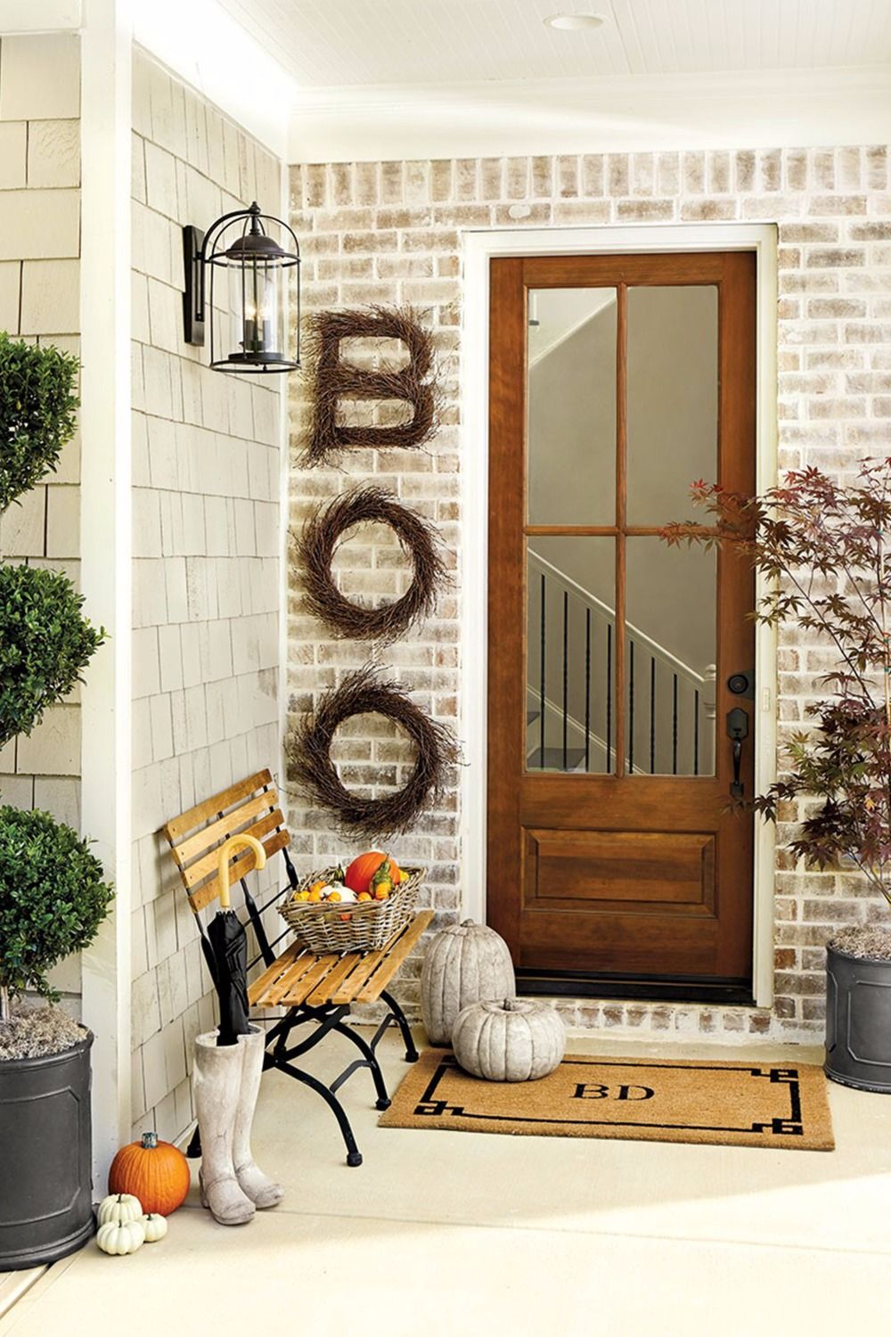 15 Fall Porch Decorating Ideas Concrete, Wreaths and Learning - Front Door Halloween Decorations