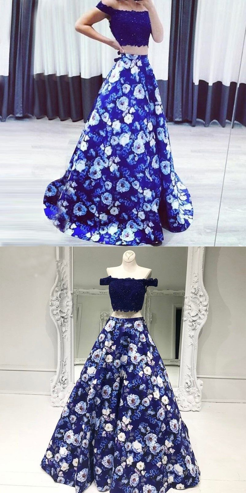 Off The Shoulder Two Piece Mermaid Long Prom Dress Long Evening Gown With Printed Flower Skirt Floral Prom Dresses Blue Satin Prom Dress Floral Evening Gown [ 1600 x 800 Pixel ]