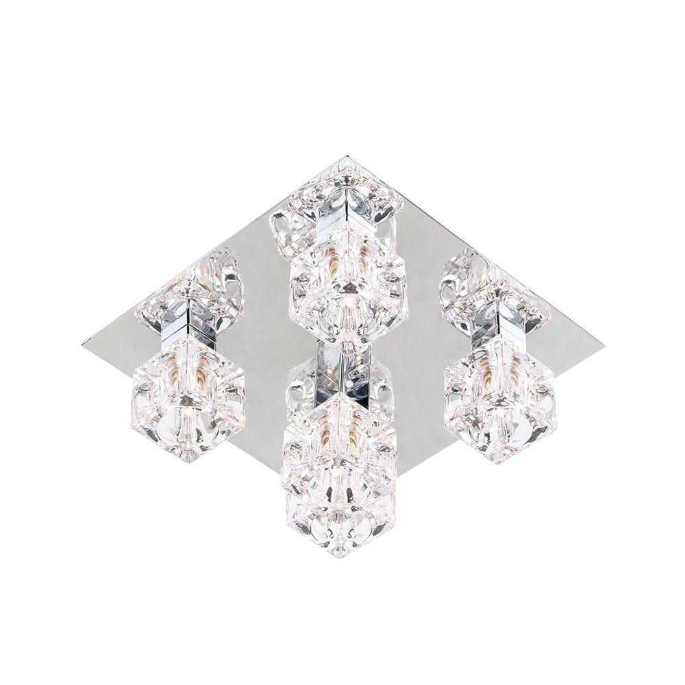 Endon Lighting 1607-5 5 Light Flush Light In Chrome And Crystal ...