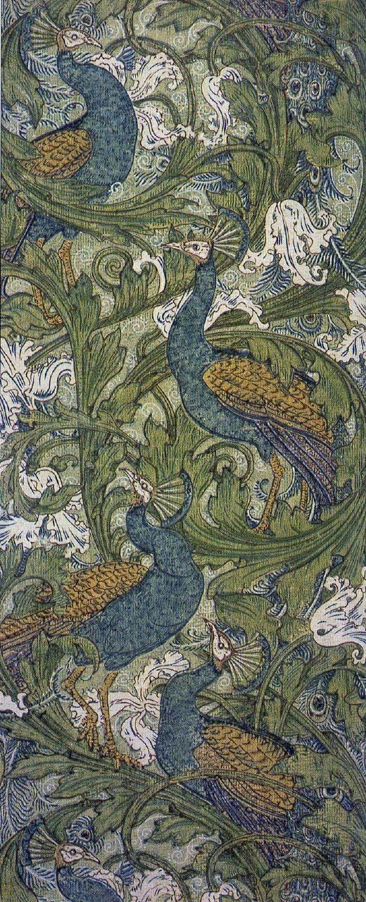 Peacock Garden textile design by Walter Crane, ca.1889, offered by Silver Studios (Arthur Silver), ca.1890
