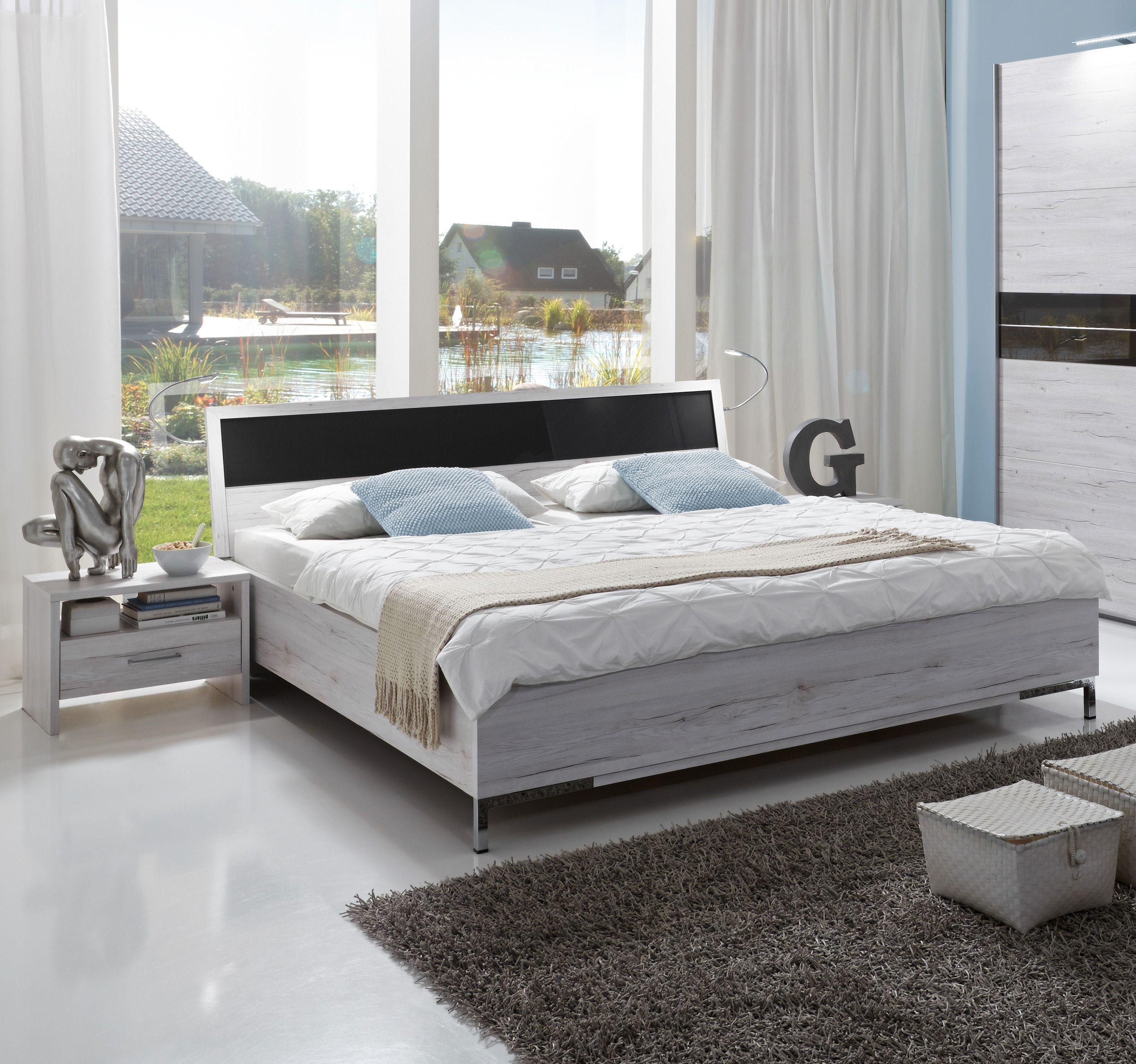 Bett 180 X 200 Cm Weisseiche Glas Grau Woody 132 01640 Holz Modern