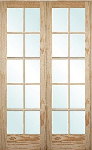 French real wood interior door unit 10 lite pine interior for Double wide french doors