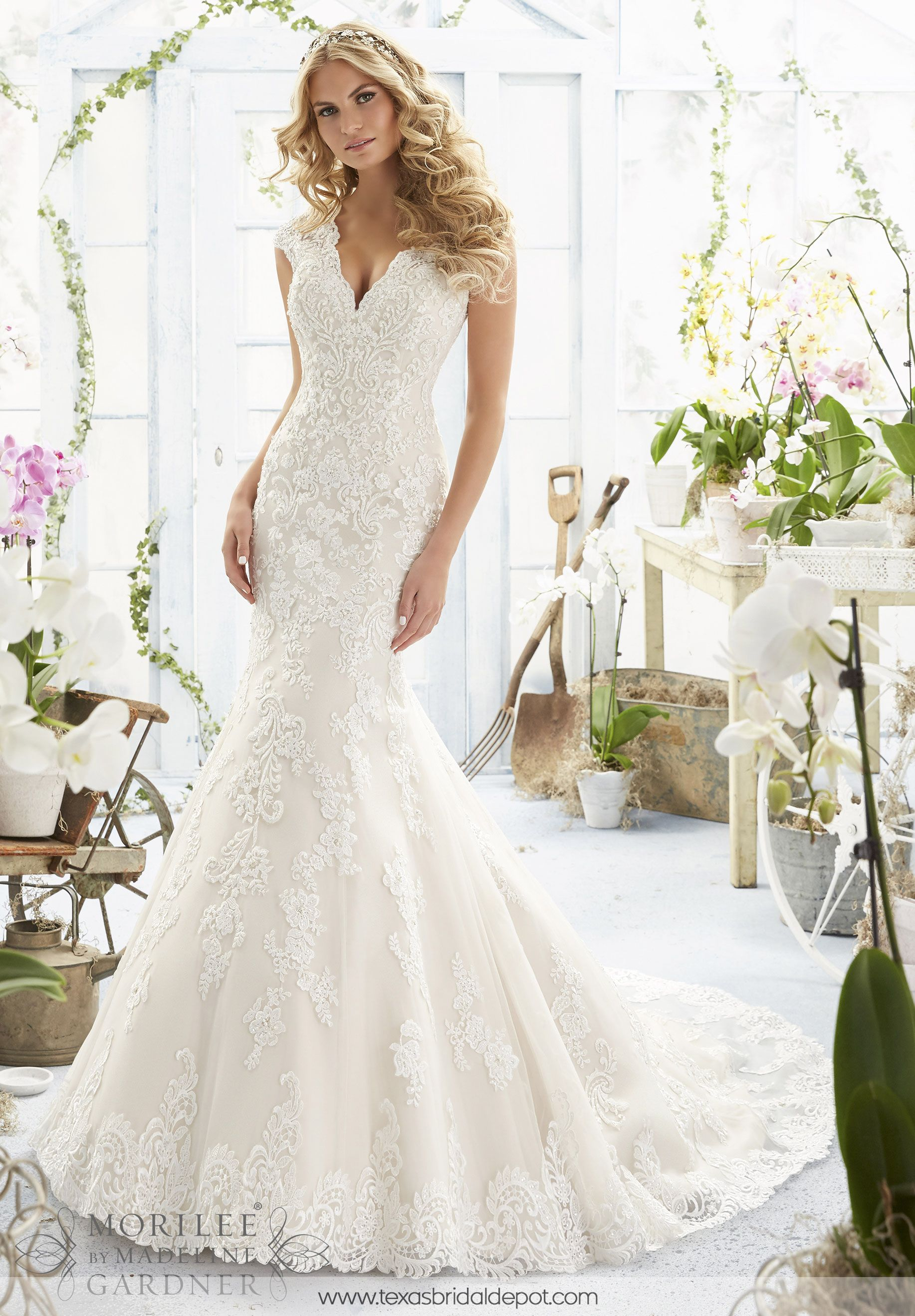 Wedding Dress 2806 CRYSTAL BEADED EMBROIDERED APPLIQUES AND ...