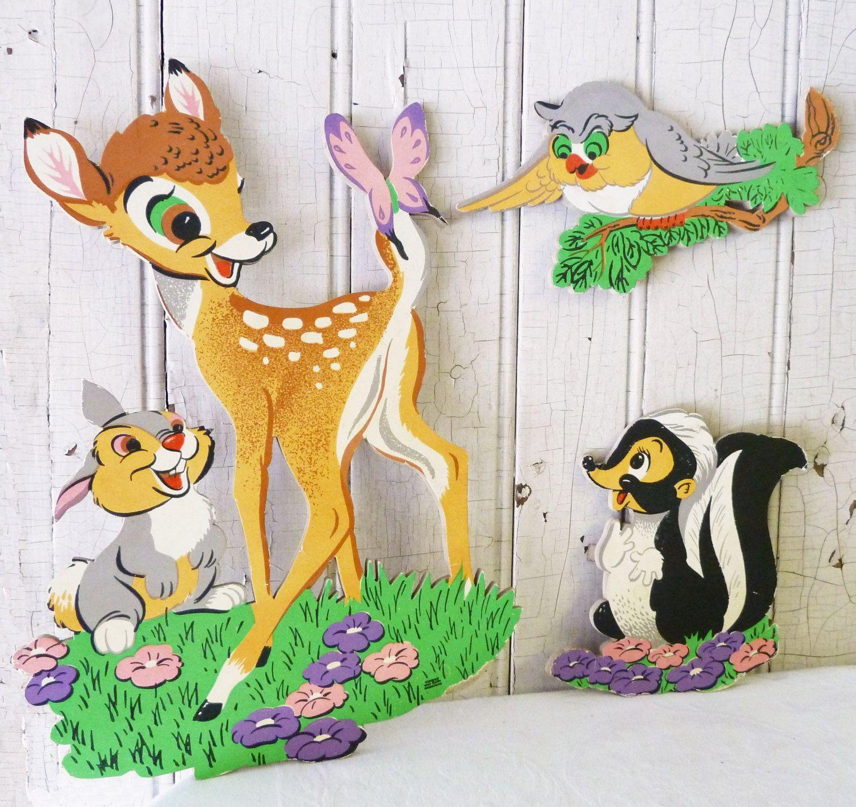 Vintage Bambi Wall Art  Bambi, Thumper, Owl & Flower