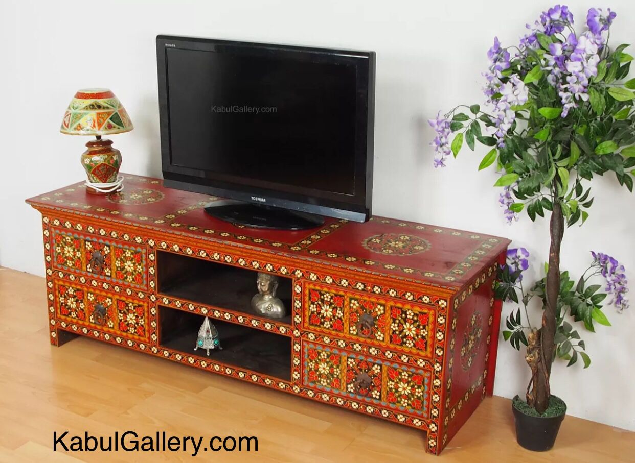 Solid Wood Hand Painted Oriental Cabinet From Afghanistan