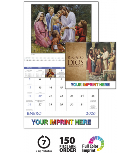 Basic Custom Imprint Setup Pdf Proof Included This 13 Month Spanish Calendar Features Traditional Christian Art Custom Calendar Imprinting Planning Calendar